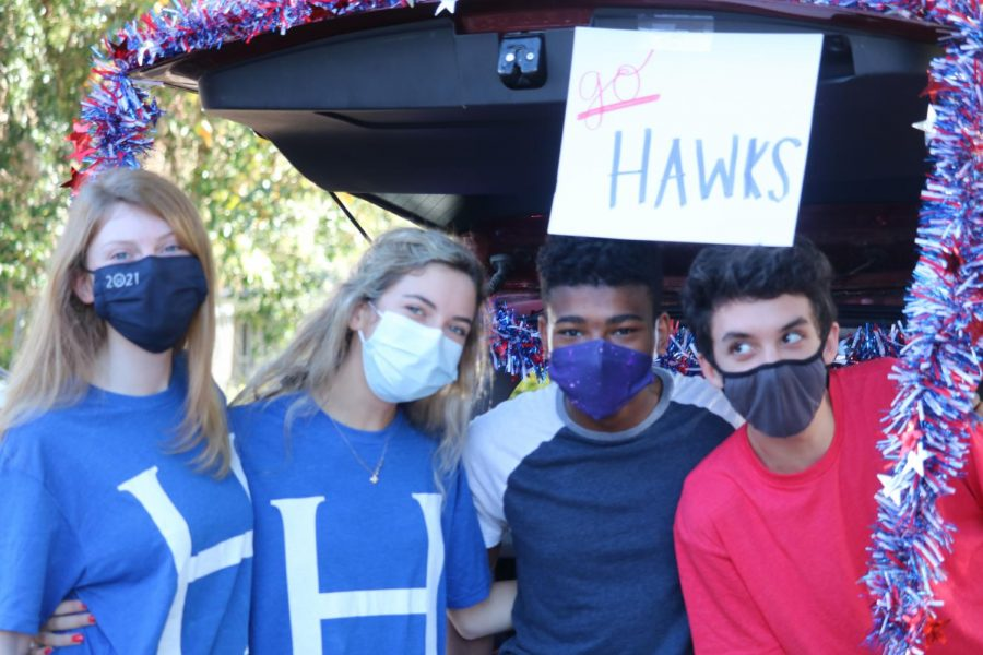 Students masked but happy to be together during 2020 Homecoming.